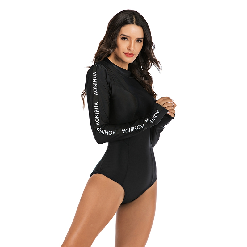 neck entry Latex swimsuit with long sleeves and cups