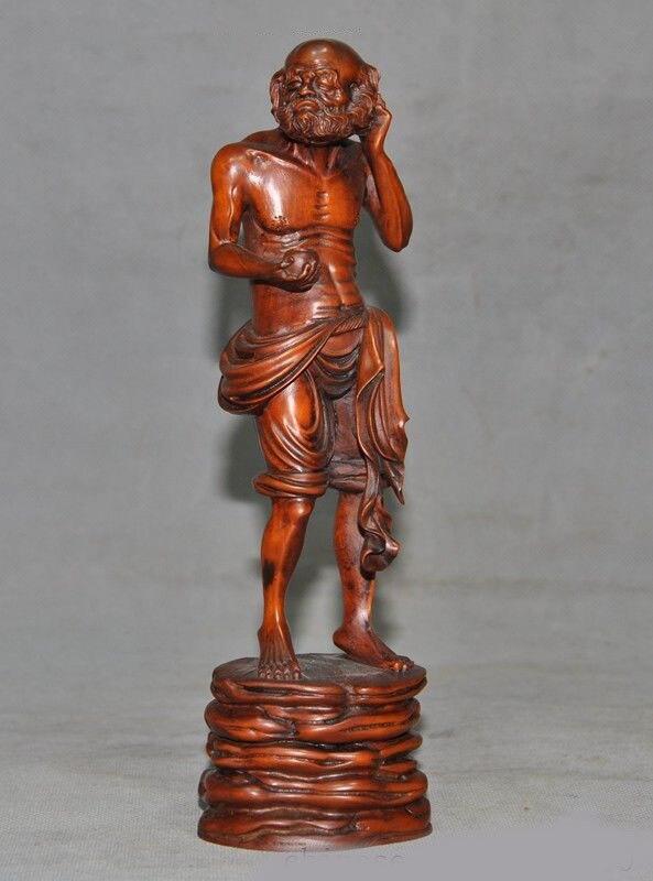 Christmas Chinese Buddhism Boxwood Wood Hand Carved Damo Bodhidharma Dharma Buddha Statue Halloween