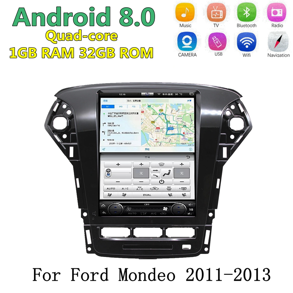 "10.4"" Android 8.0 Tesla style Car DVD Radio GPS Sat Navigation Stereo For Ford Mondeo Fusion 2011 2013