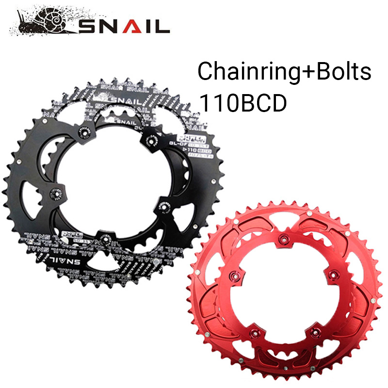 Caracol 50t/35t 110bcd chainring estrada bicicleta chainwheel placa duplo anel de corrente oval 9/10/11s ultraleve peças da bicicleta apto sram fsa