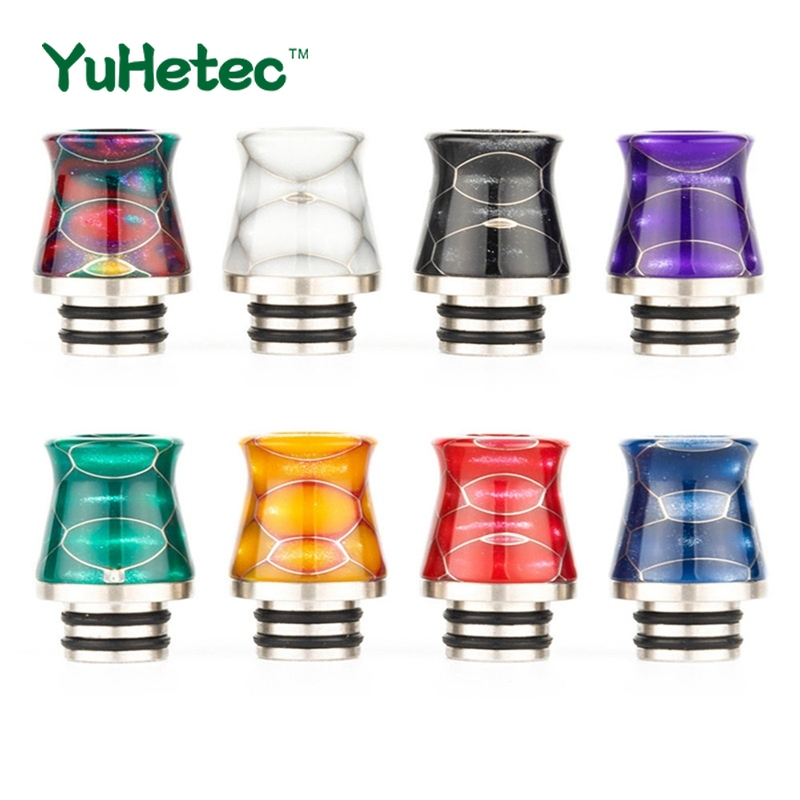 1PCS YUHETEC 510 Drip Tip Vase Shape Stainless Steel Epoxy Resin Honeycomb Heat Resistance Mouthpiece For TFV8 Baby Vape