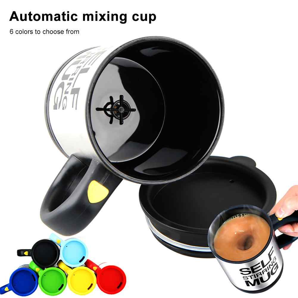 400ml Stainless Steel Lazy Automatic Self Stirring Mug Coffee Milk Mixing Cup  2 x AAA Batteries Insulated Easy to Use
