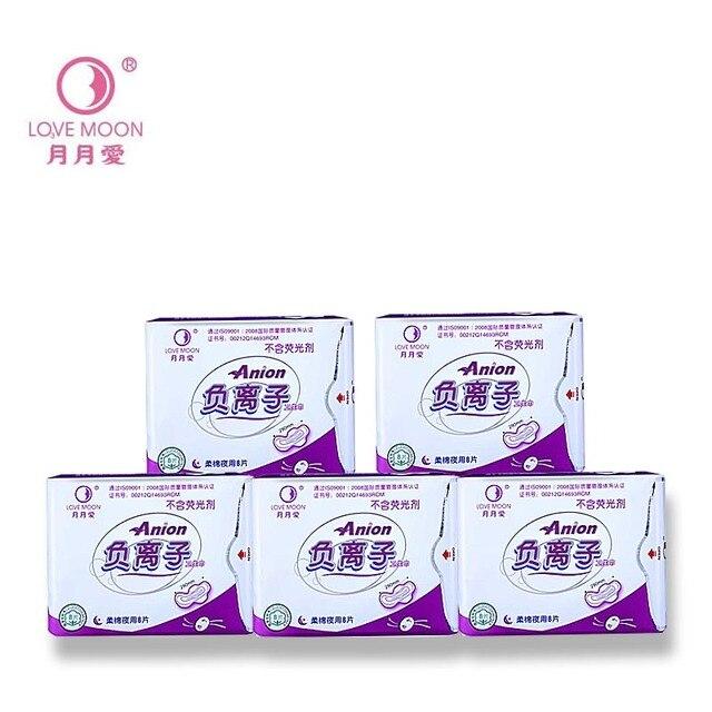 5 paket = 40 adet umumi tuvalet havlusu regl pedleri kullanımı gece aşk ay negatif iyon pedi anyon sıhhi peçeteler Lovemoon külot astar