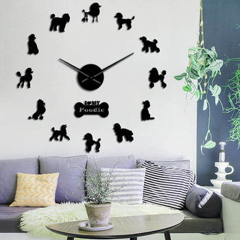Gift For Poodle Lover 3D DIY Long Hands Wall Clock Dog Club Fashion Decoration With Cute Bone Animals Store Ornament Clock Watch