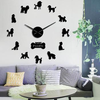 Prezent dla miłośnika pudla 3D DIY długie ręce zegar ścienny pies klub modna dekoracja z urocza kość zwierzęta sklep Ornament zegarek zegarowy tanie i dobre opinie Geek Alerts CN (pochodzenie) Kreatywny DIY-119 GEOMETRIC Z tworzywa sztucznego Pojedyncze twarzy QUARTZ Zegary ścienne