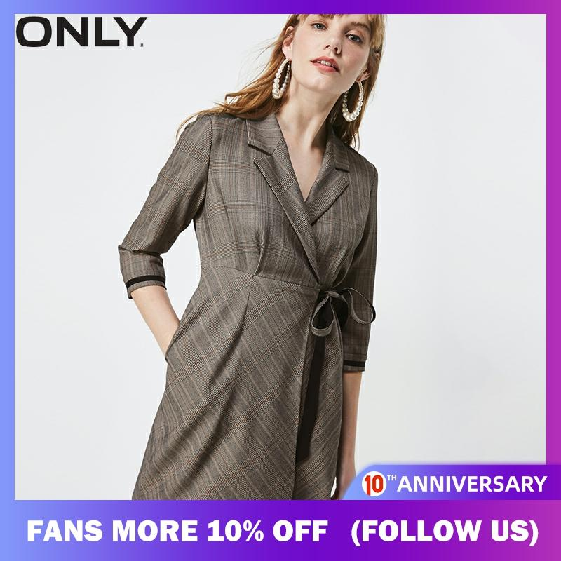 ONLY Women Checked Cinched Waist Lace-up Suit Dress |  119307634