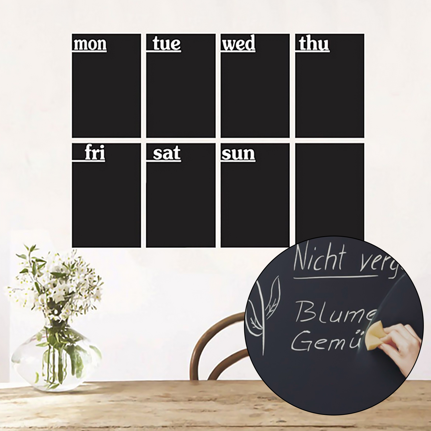 8PCS Erasable Blackboard Self Adhesive Removable Chalkboard Wall Stickers With Chalk Pen For Home School Office Supplies 30x20cm