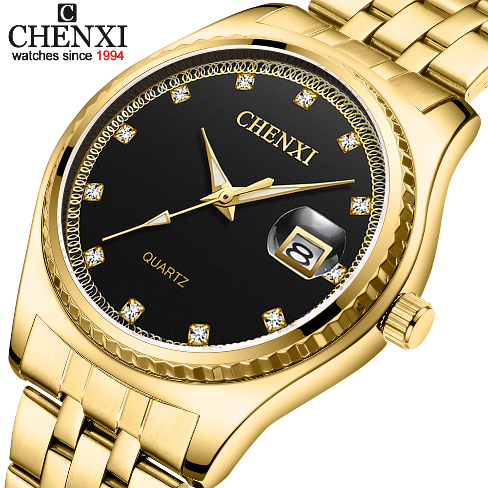 CHENXI Brand Watch New Fashion Men Women Gold Quartz Wrist Watch Steel Waterproof Couples Calendar Watches For Husband Wife Gift