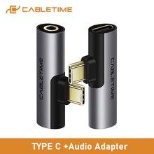 Cabletime Usb Type C Naar Audio 3.5Mm Adapter Koptelefoon Hoofdtelefoon Analoge Signaal Voor Xiao Mi Huawei Type C otg USB C C018