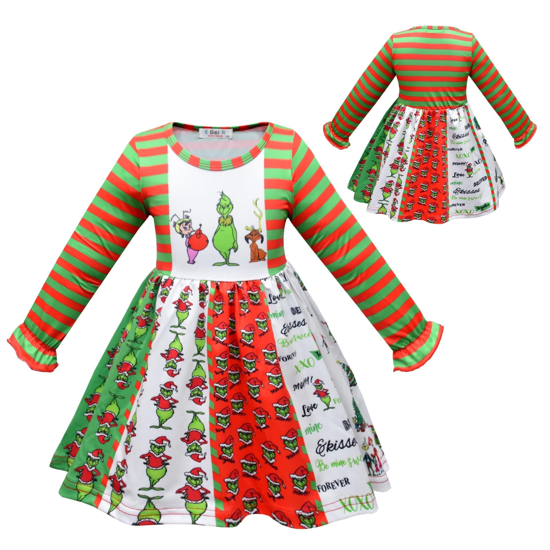 Girl Princess Dress Long Sleeve Grinch Cartoon Pattern Twirl Dress Christmas Dress 3
