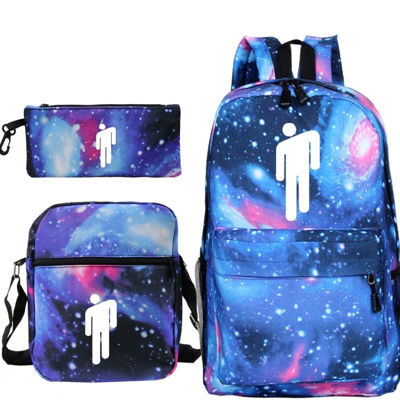 3pcs/Set School Bag Billie Eilish Backpack Children Combination Bookbag Fashion Boys Girls School Backpack Daily Mochila