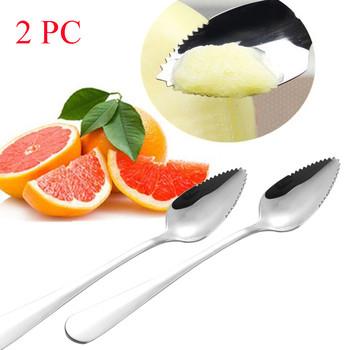 2 4PC gruba gładka ze stali nierdzewnej grapefruit łyżka łyżeczka do deserów ząbkowana krawędź cięcia owoców przyrząd kuchenny narzędzia kuchenne #40 tanie i dobre opinie CN (pochodzenie) Drewna home decor home decoration accessories