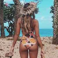 Vintage floral print one piece swimsuit female Lace up swimwear women Push up bodysuits monokini Summer Bathers bathing suit