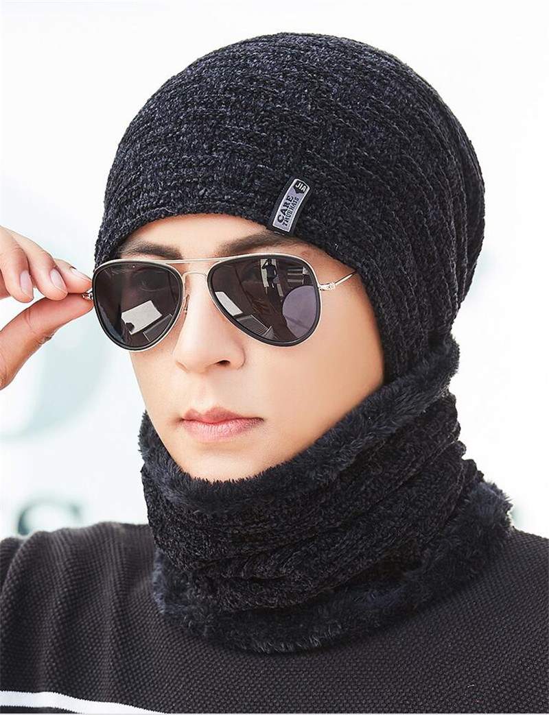 Winter Men Hat Scarf Set Man Warm Knitted Plush Hat 2 Peice Set Male Solid Beanies Cap And Ring Scarves Adult Accessories