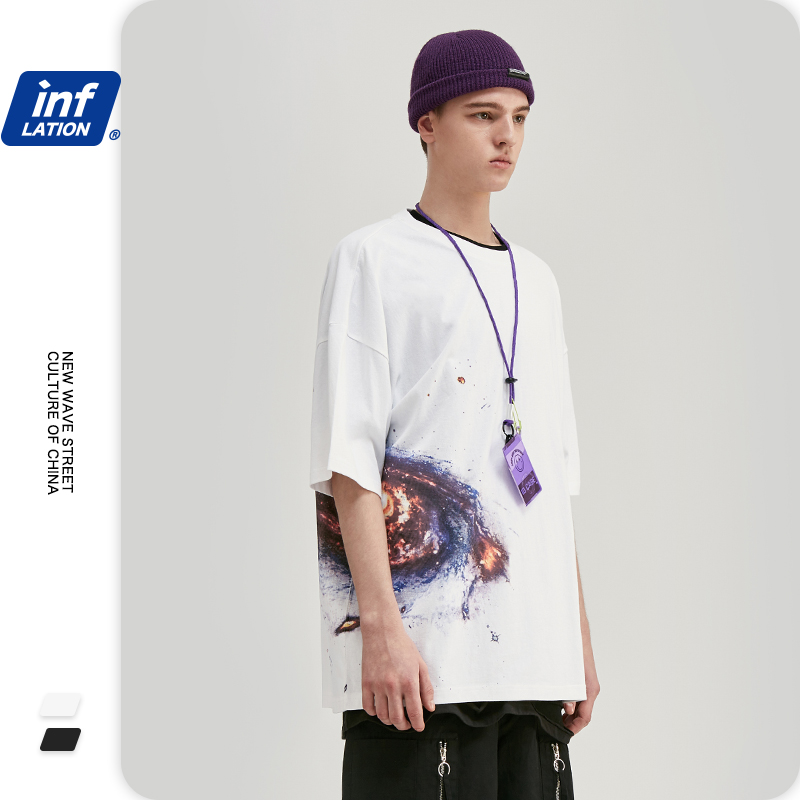 INFLATION Men Hip Hop Tshirt Streetwear Sky Printing In Side Men Oversize T-shirt Boy Top Tees Men Funny Summer Tshirt 1156S20