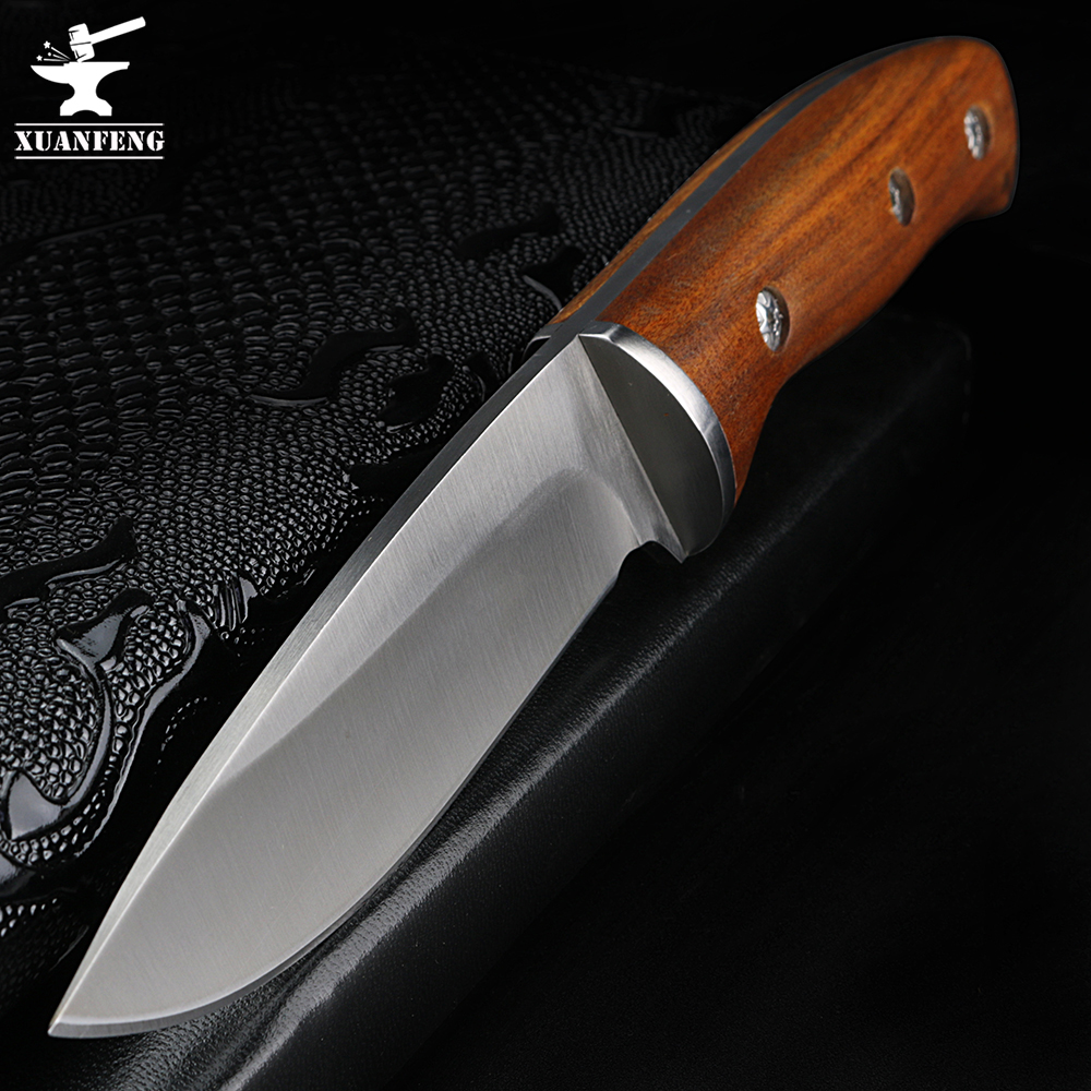 XUAN FENG Fixed Blade Knife Camping Hunting Survival Knife 5Cr13Mov Steel Blade Wood Handle Rescue Tool