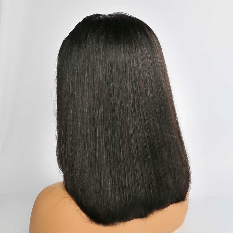 Wigirl Gerade 13x6 Spitze Front Menschliches Haar Perücken 8-16 inch Glueless Bob Kurze Frontal Perücke Brazilan pre Gezupft Für Schwarze Frau