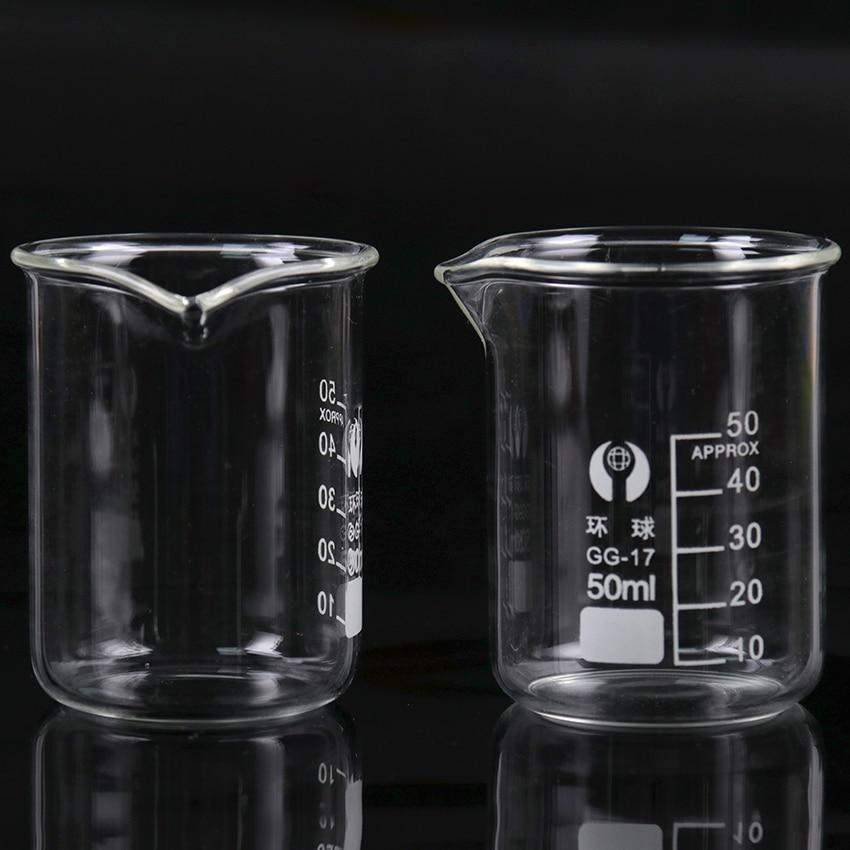 1PC Transparent Beaker Flask Capacity 50ml Low Beaker For School Student Chemistry Laboratory Measuring Supplies