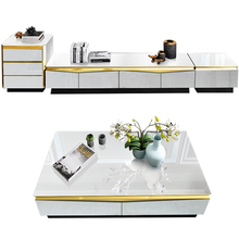 Combination Cabinet Tv-Stand Glass White Floor Gold-Plated-Frame