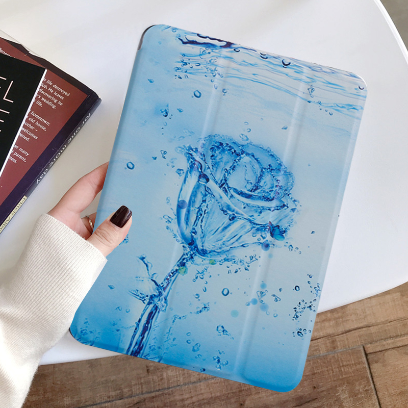 Ice rose Green Painted Tablet case for Apple iPad 10 2 inch 2020 Transparent Hard Shell Protection Cover for