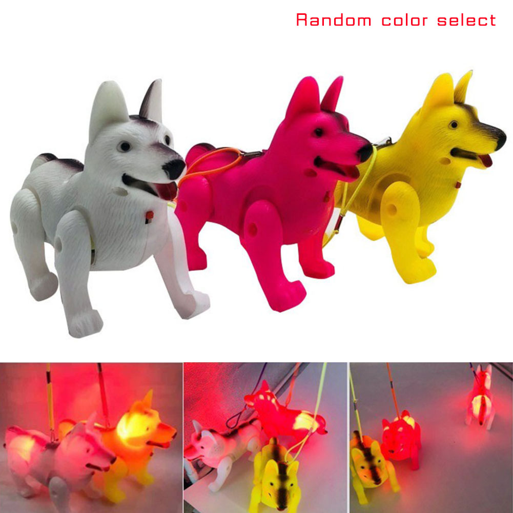 Electronic Cute Dog Toy With Rope Music LED Light Luminous Electric Walking Dogs Robot Pet Toys For Kids Children Gift