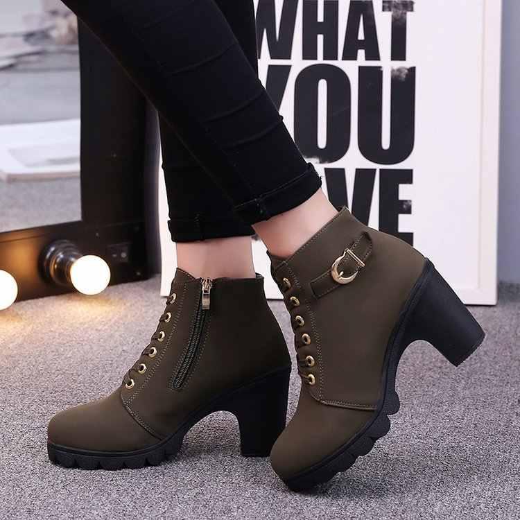 حذاء الكعوب الأسود عالية النعال النساء موضة شتاء ساخن إمرأة موضة عالية الكعب حذاء كاحل برباط أحذية السيدات مشبك أحذية منصة