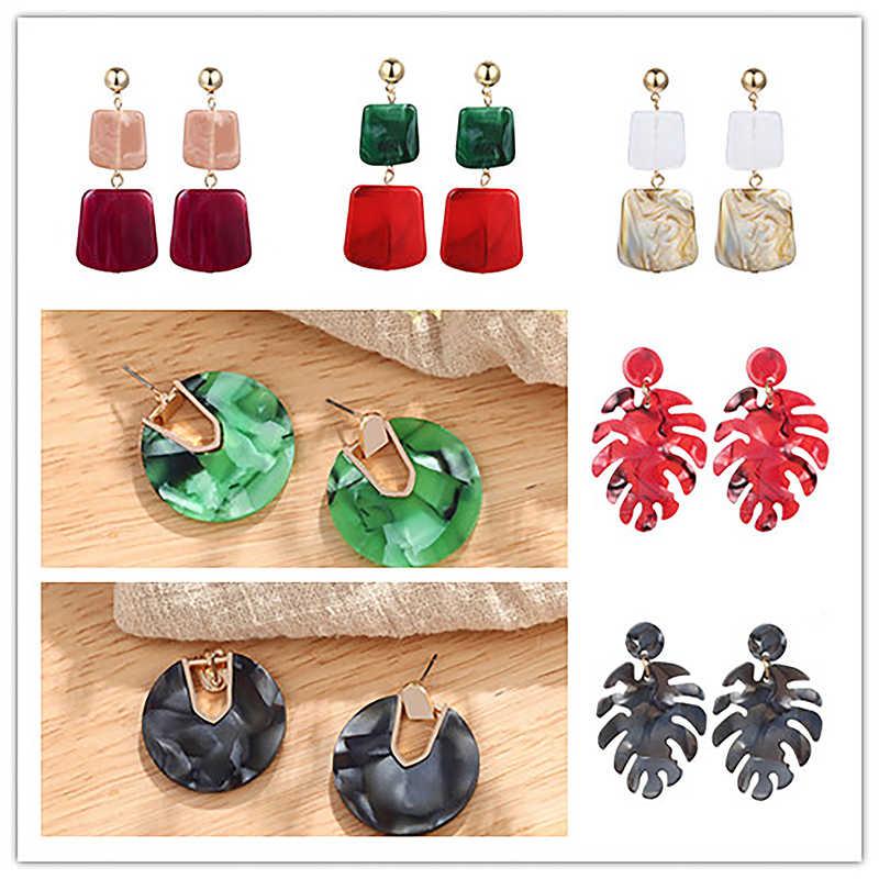 ZA Bohemian Statement Jewelry Geometric Earrings Acrylic Earrings Colorful Leaves Round Circle Earrings For Women Unique Brinco