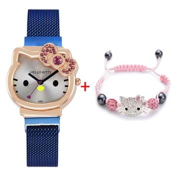 Children's Wristwatch Cartoon KT Cat Blue Red Stainless Steel Strap Quartz Watch+Bracelet Set For Girls Best Christmas Gift