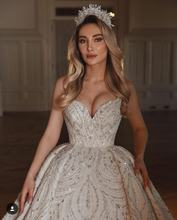 Princess Fluffy Luxury Wedding Dress 2020 Wedding Gowns for Bride Plus Size Satin Crystal Beaded Custom Made robe de mariee(China)