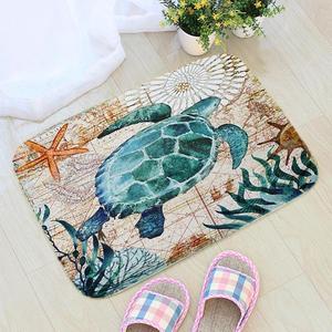 Sea Style Turtle Octopus Printing Doormat Flannel Fabric Whale Seahorse Home Decoration Door Mat Non-slip Floor Mat vloermat(China)