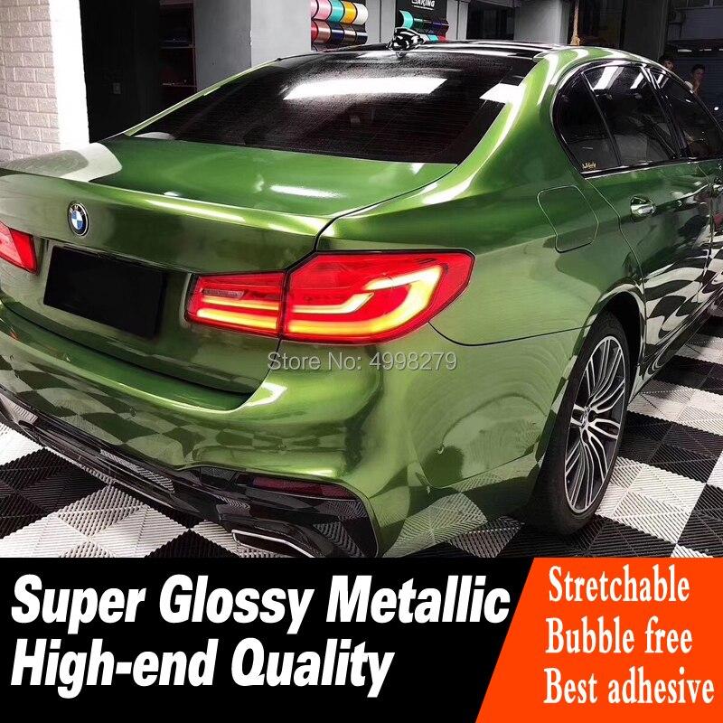 Enveloppe de vinyle vert Mamba métallique Super brillant pour film de couverture de voiture - 4