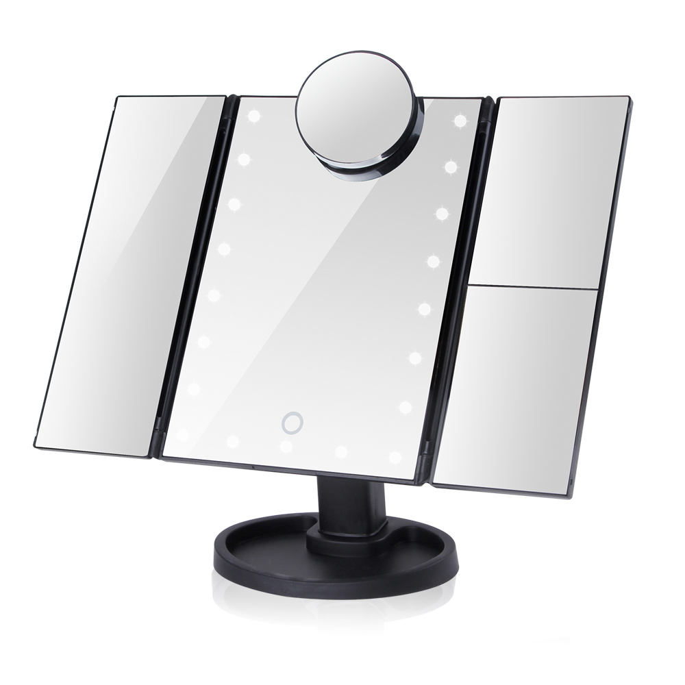 22 LED Makeup Mirror Light Vanity Pocket Mirror Flexible Magnifying 1X/2X/3X/10X Touch Screen Cosmetic Adjustable Gift Woman