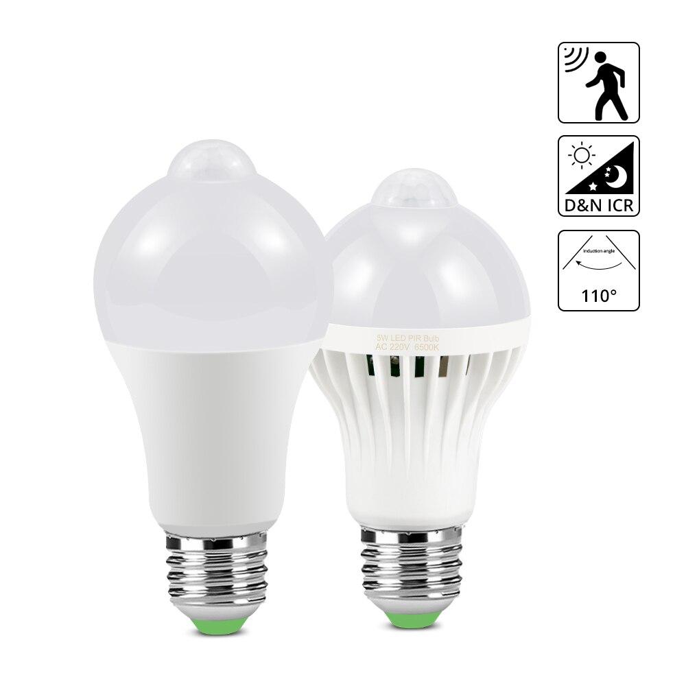 Светодиодная лампа E27 с пассивным инфракрасным датчиком движения, 220 В, 5 Вт, 7 Вт, 9 Вт, 12 Вт, 18 Вт