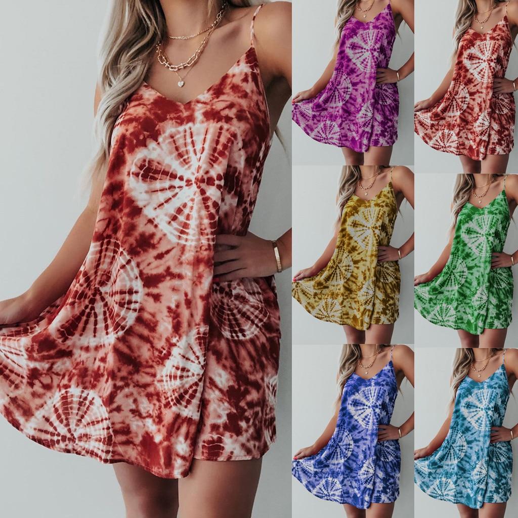 Women Off Shoulder Beach Dress Floral Tie Dye Print Summer Dress Casual Party Short Mini Dress