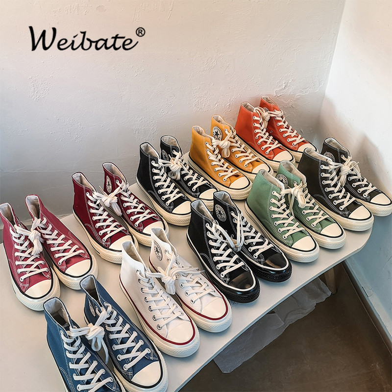 WEIBATE High Top Women Fashion Canvas Casual Shoes Casual Sneakers Breathable Flat Driving Vulcanize Lovers Walking Shoes