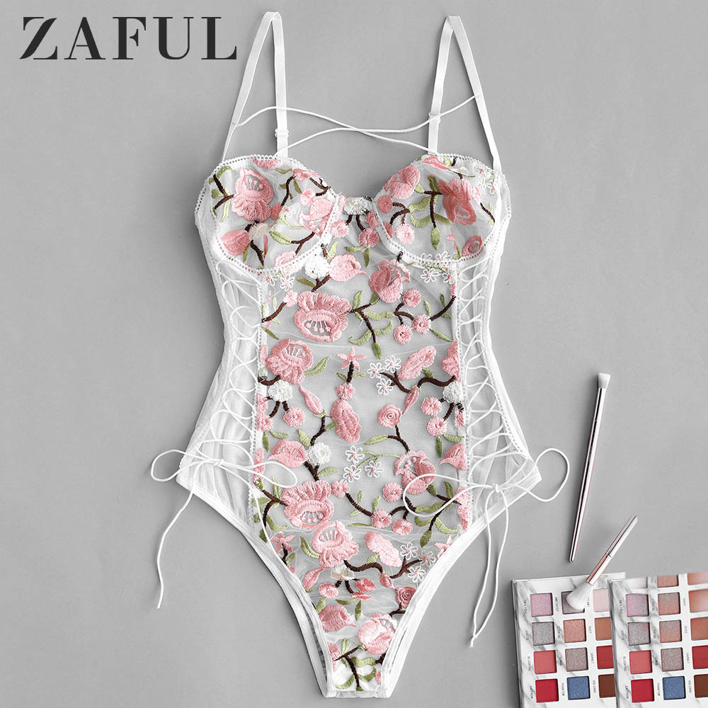 ZAFUL Sexy Women Bodysuits Floral Embroidered Lace Up Romper Spaghetti Strap Summer Playsuits Skinny Lace Body Clothes