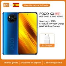 Version mondiale Xiaomi POCO X3 NFC téléphone portable 6GB 64GB /128GB Snapdragon 732 Octa Core 64MP Quad caméra 6.67