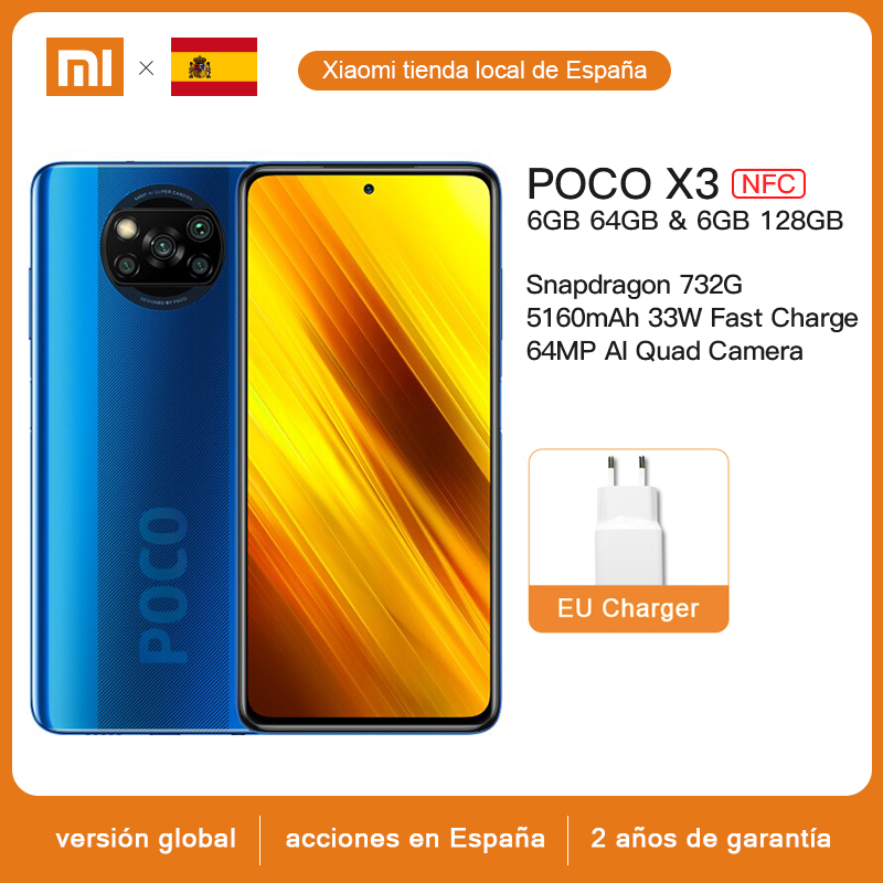 "Versión Global Xiaomi POCO X3 NFC 6GB 128GB Smartphone Snapdragon 732G Octa Core 64MP Quad Cámara 6,67 ""120Hz DotDisplay 5160mAh|Teléfonos móviles|   -"