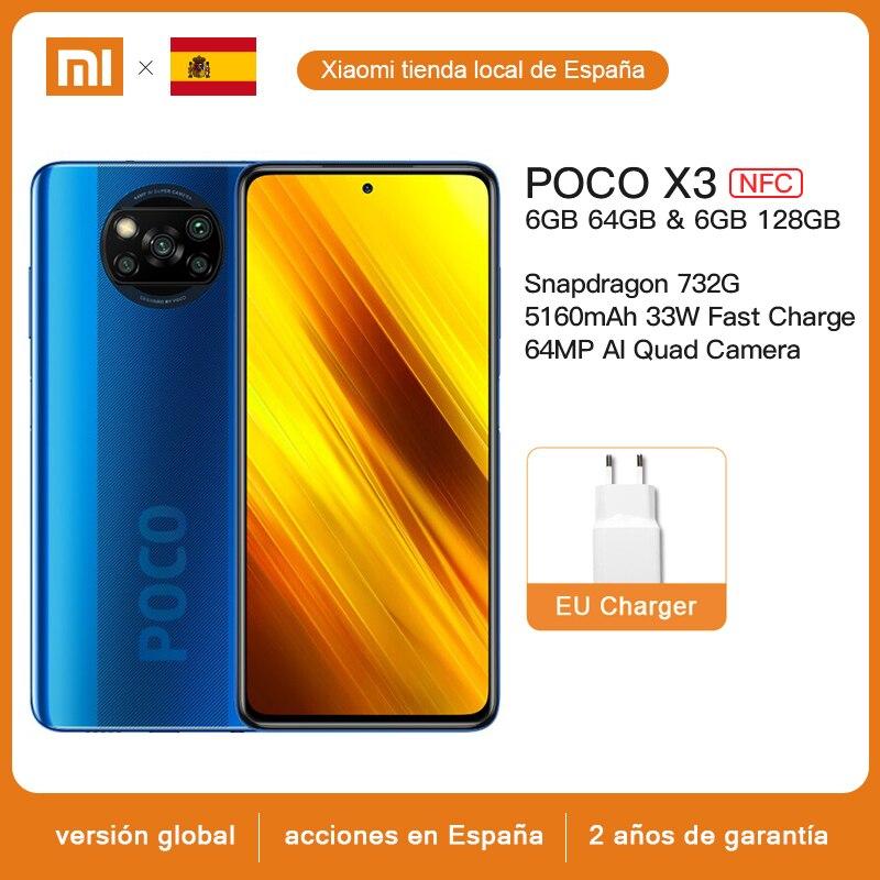 """Version mondiale Xiaomi POCO X3 NFC téléphone portable 6GB 64GB /128GB Snapdragon 732 Octa Core 64MP Quad caméra 6.67 """"33W charge rapide"""