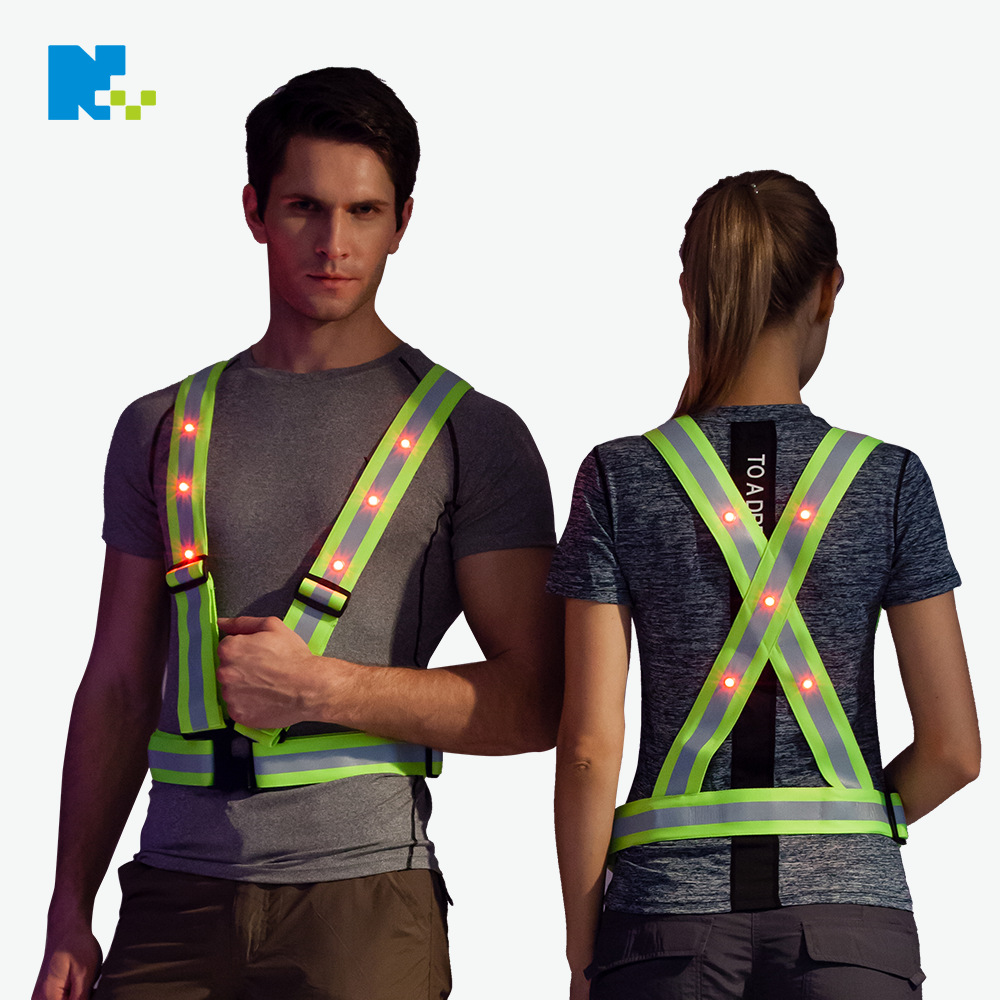 Traffic Road Administration V Shaped Vest LED Shining Reflective Vest Construction Work Site Security Service Safe Warning Work