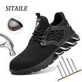 Sitaile sapatos indestrutíveis tênis de trabalho respirável sapatos masculinos de aço toe rede segurança botas puncture proof