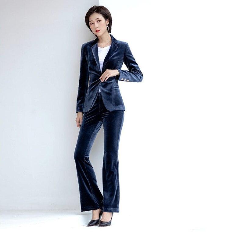 Women's Suit Slim Temperament Velvet  Suit Two-piece Women's Suit Blazer With Trousers Set Business Wear