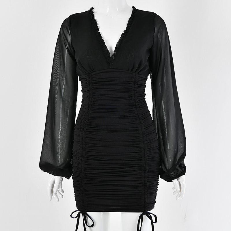 2019 Autumn V-neck Sexy Women Mini Sexy Dress Skinny Backless Pleated Outfits Bodycon Party Lady Wrikled Black Clubwear GV998