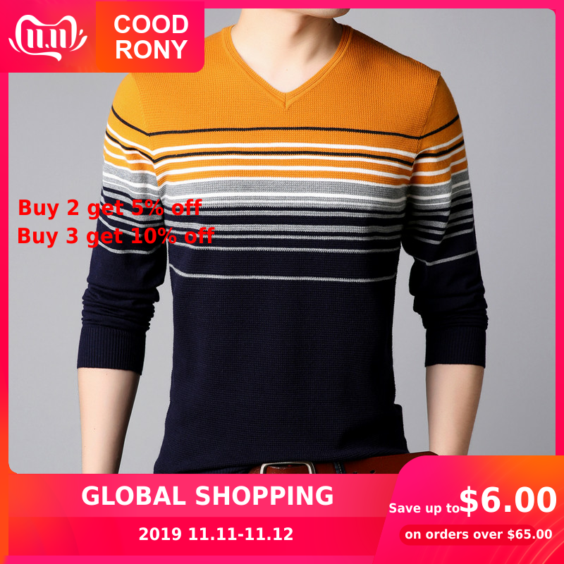 COODRONY Sweater Men Streetwear Fashion Striped V-Neck Knitwear Pull Homme Autumn Winter Cotton Wool Pullover Men Sweaters 91025