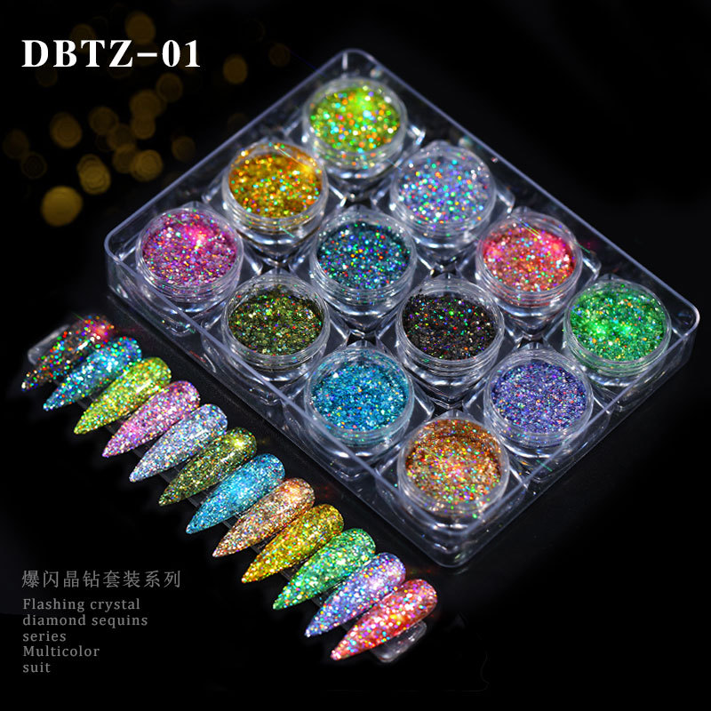 12 Colors Holo Nail Glitter Sequins Laser Sparkly Flakes Powder Nail Art Chrome Pigment Dust Paillette Manicure DIY Decorations