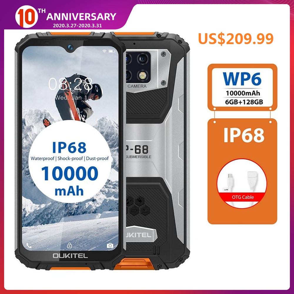 OUKITEL WP6 4G Waterproof Smartphone 6.3 Inch Dust Shock 9V/2A 10000mAh 48MP 6GB RAM 128GB ROM Face ID Fringerprint Mobile Phone