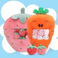Creative Software Strawberry Seat Cushion Carrot Pillow Cartoon Fruit Doll Snack Bag Plush Toys Cushion Doll