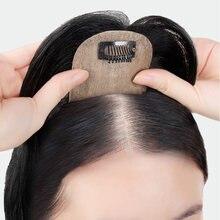 Noosi topo de cabelo topper seda em linha reta com franja sintético natural falso peruca extensões de cabelo grampo sobrecarga para as mulheres