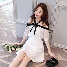 Spring and summer new style Hanging neck color A Chiffon slim dress Fresh sweet