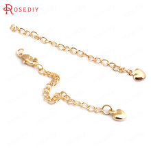 (F438)10 pieces Length 82mm 24K Gold Color Brass Heart End Extend Chains + Lobster Clasps High Quality Diy Jewelry Accessories(China)